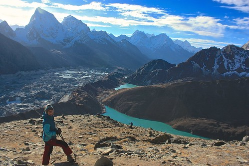 Lina taking a rest climing Gokyo Ri