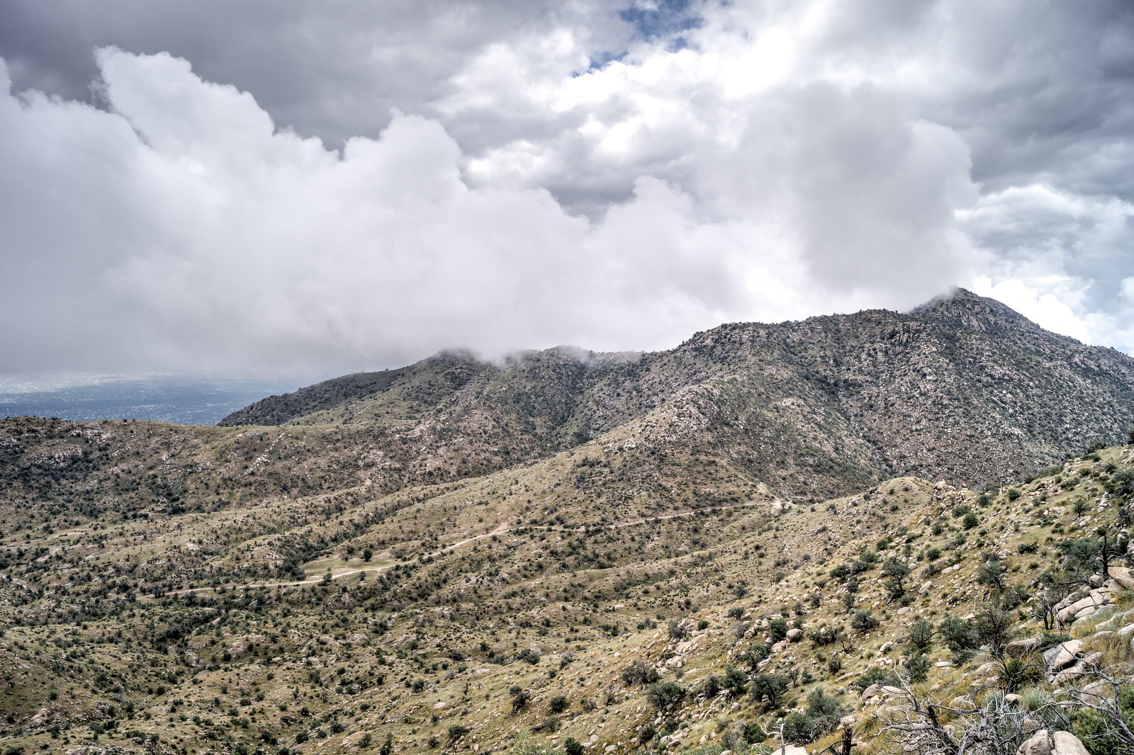 1410 Storm over the Molino Basin Trail and Shreve Saddle