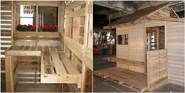 Esta casa de ensue o est construida con viejos palets y - Casas con palets de madera ...