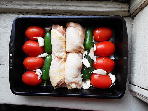 chicken and salsa fixins