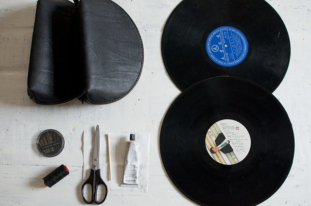Make a clutch out of two records www.apairandasparediy.com
