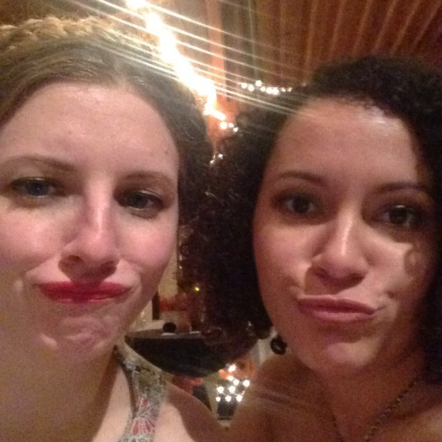 Two married ladies. Alternatively: the bride wore duck lips.