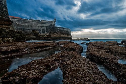 portugal water iso100 agua nikon rocks fort f22 lowtide forte carcavelos 18105 d60 rochas 13sec marebaixa 13seg