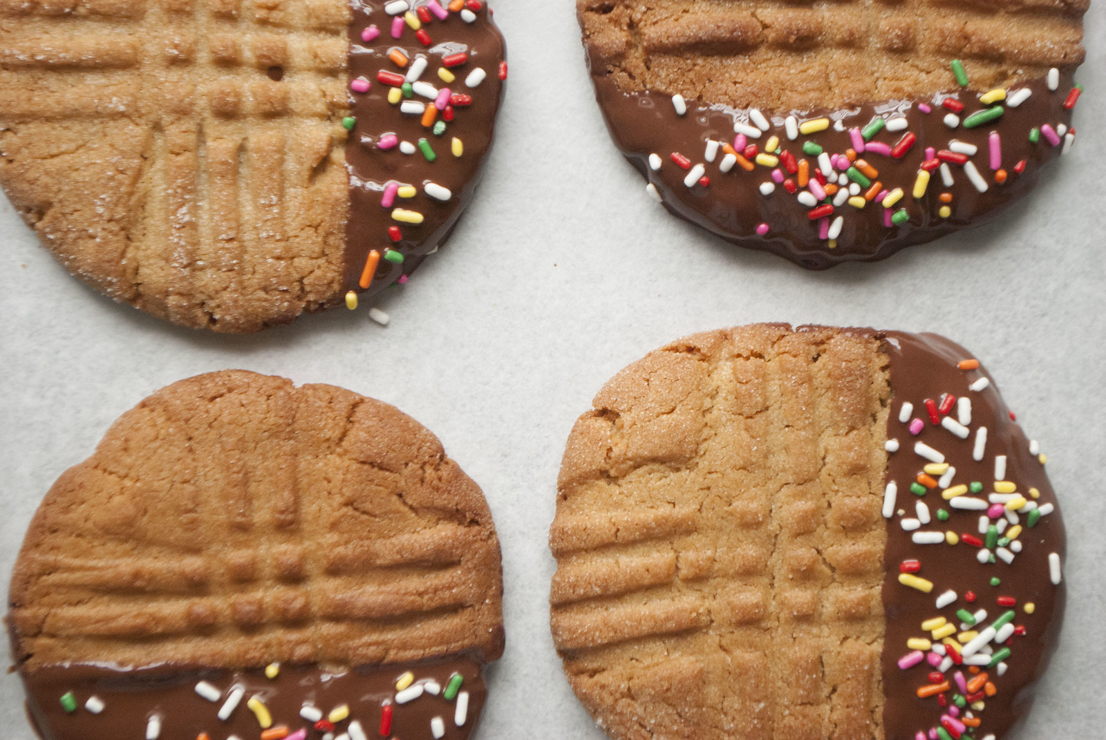 dipped + crisp peanut butter cookies