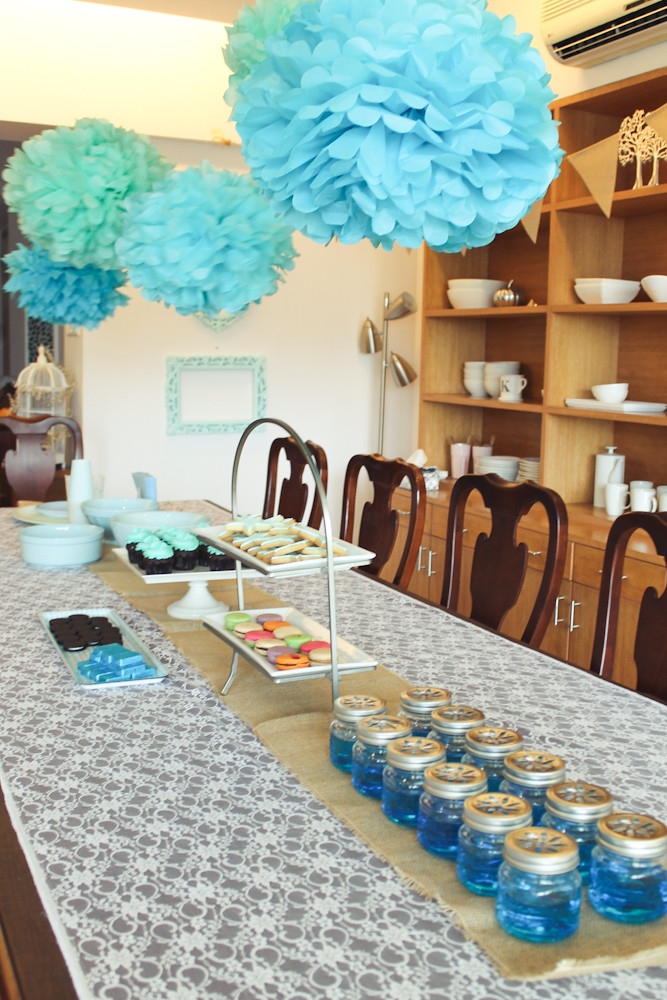 blue themed sleepover birthday party