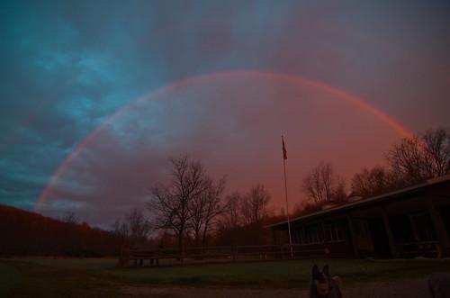 morning trees sky dog rain clouds yard sunrise landscape rainbow glow flag tokina1224 double