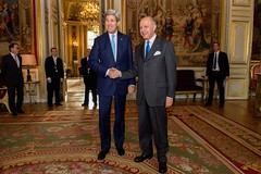 U.S. Secretary of State John Kerry meets with French Foreign Minister Laurent Fabius in Paris, France, on November 20, 2014, before traveling to Vienna, Austria, to join negotiations with Iranian officials about the future of their nuclear program. [State Department photo/ Public Domain]