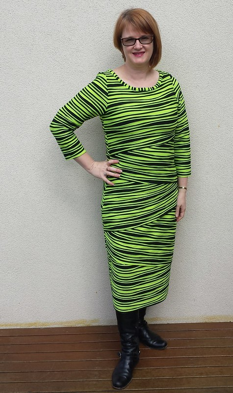 Vogue 8904 in striped knit from Darn Cheap Fabrics