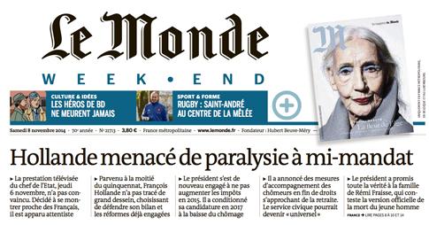 14k07 LMonde Hollande amenazado de parálisis