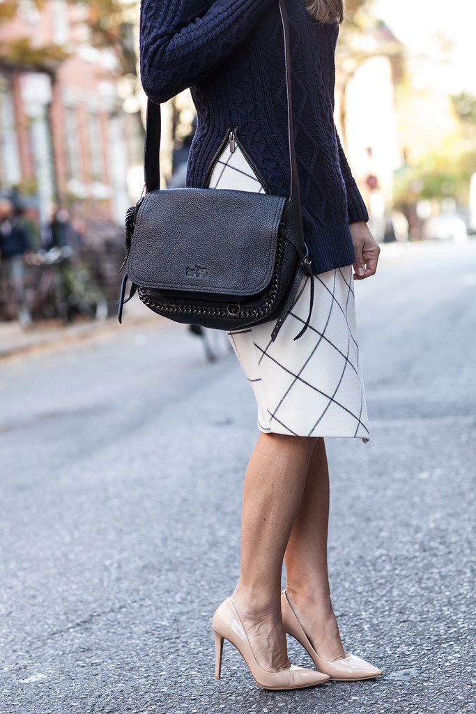 windowpane skirt banana republic skirt coach cross body black bag leather bag dvf bethany heels nude zara printed wrap skirt nordstrom sunglasses what to wear to work in the fall new york fashion blogger corporate catwalk work outfits