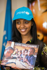 Abelone Melese launching the State of the World's Children's Report; her first activity as a UNICEF National Ambassador to Ethiopia.