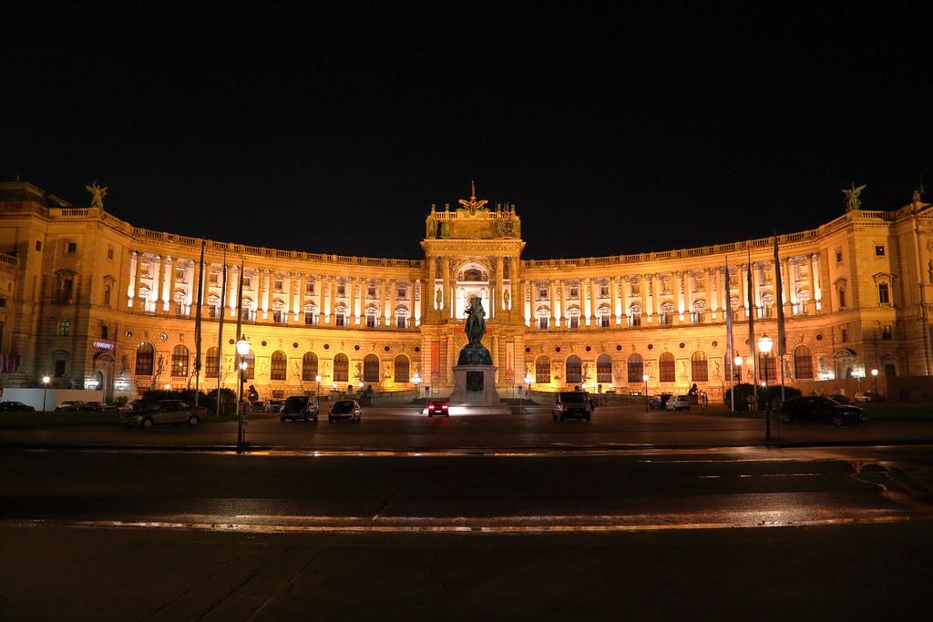 illuminated Hofburg palace