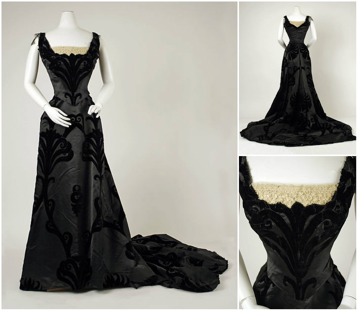 1898. Evening Dress. Silk, cotton. metmuseum