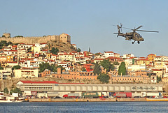 Macedonia  Kavala airshow, Greece, apatsi helicopter of the hellenic airforce over the port #Μacedonia