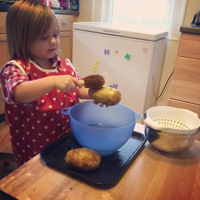 Potato-scrubbing!