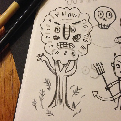 My scary tree ended up just looking a bit disgruntled... #doodle #sketchbook #illustration #inktober #halloween