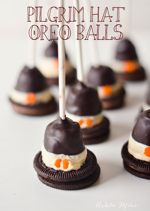 Pilgrim Hat shaped OREO cookie ball pops