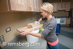 Woman making sauerkraut