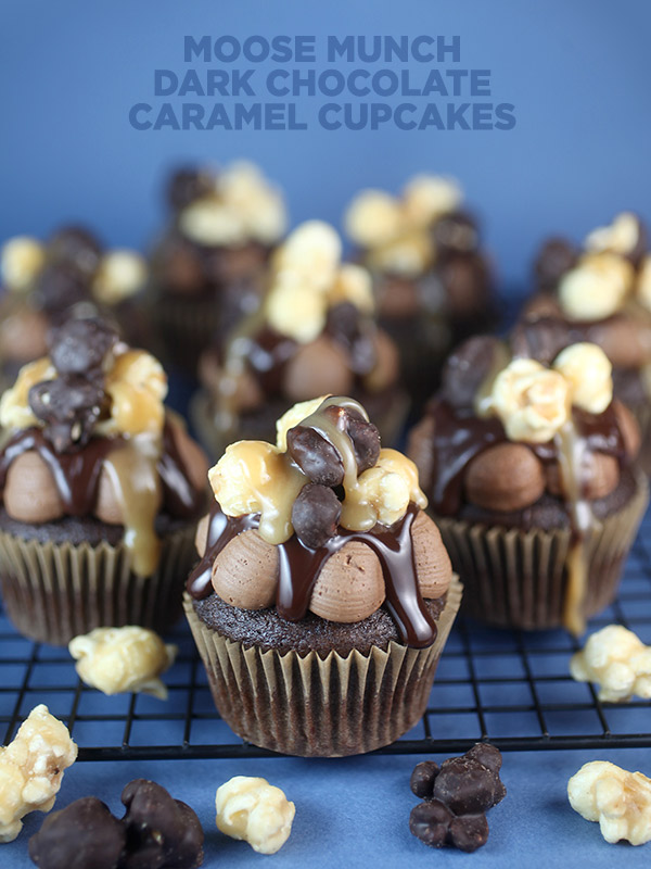 Moose Munch Dark Chocolate Caramel Cupcakes