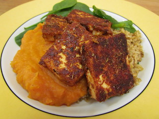 Blackened Tofu; Autumn Puree