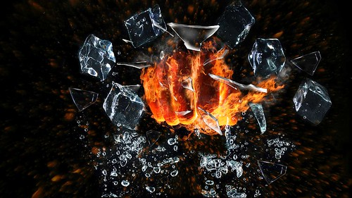 Fire hand-ice cube