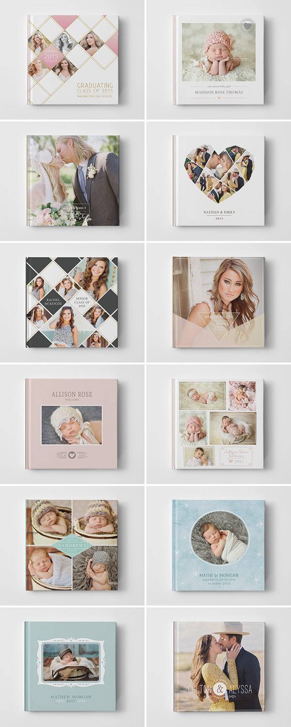 Baby Newborn Senior Wedding Engagement Book Album Cover Templates for Photographers