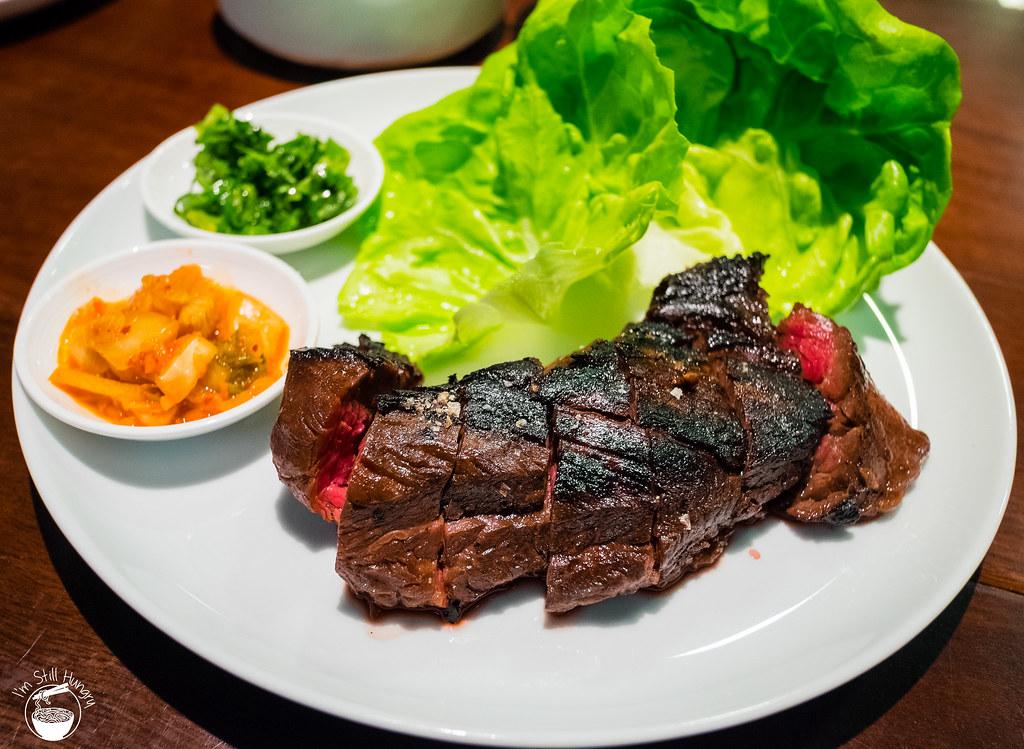 Marinated hanger steak ssam w/ginger scallion, kimchi, bibb lettuce ($ ...