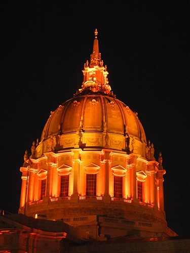 DSCN7880 - San Francisco City Hall in SF Giants' Orange Glow