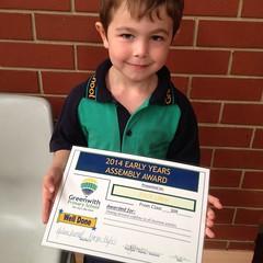 My first school award. Feeling very proud