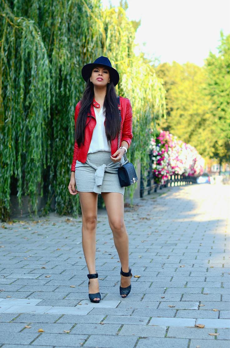 DSC_0122 Red biker jacket, Chanel Boy bag(3),