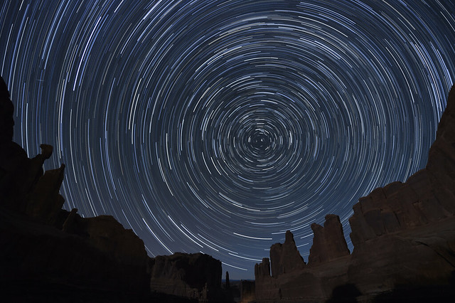 Star Trails over Arches National Park, Utah