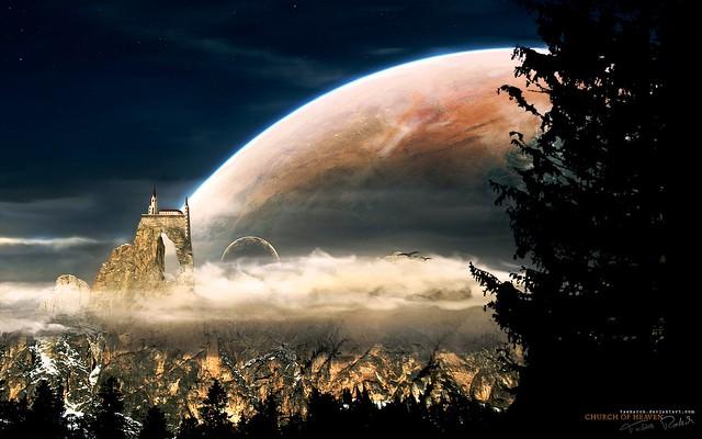 Universe_and_planets_digital_art_wallpaper_church