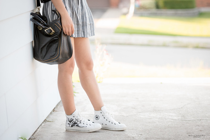 Sheer ruffled top pinstripe shorts 11
