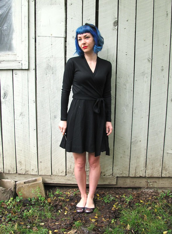 DVF Black wool dress made with Mood Fabrics