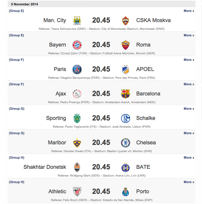 livescore matches today