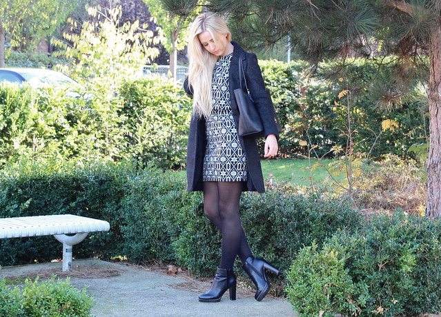 Autumn OOTD, Autumnal Outfit, AX Paris Boots, Blue Vanilla Dress, Fashion, OOTD, Style, Yumi Direct Coat, Black Michael Kors Top-Zip Tote Handbag, AX Paris Boots, Daniel Footwear Michael Kors Handbag,