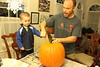 Strongbad Pumpkin - Sagan Helps Cut Lid with Ryan