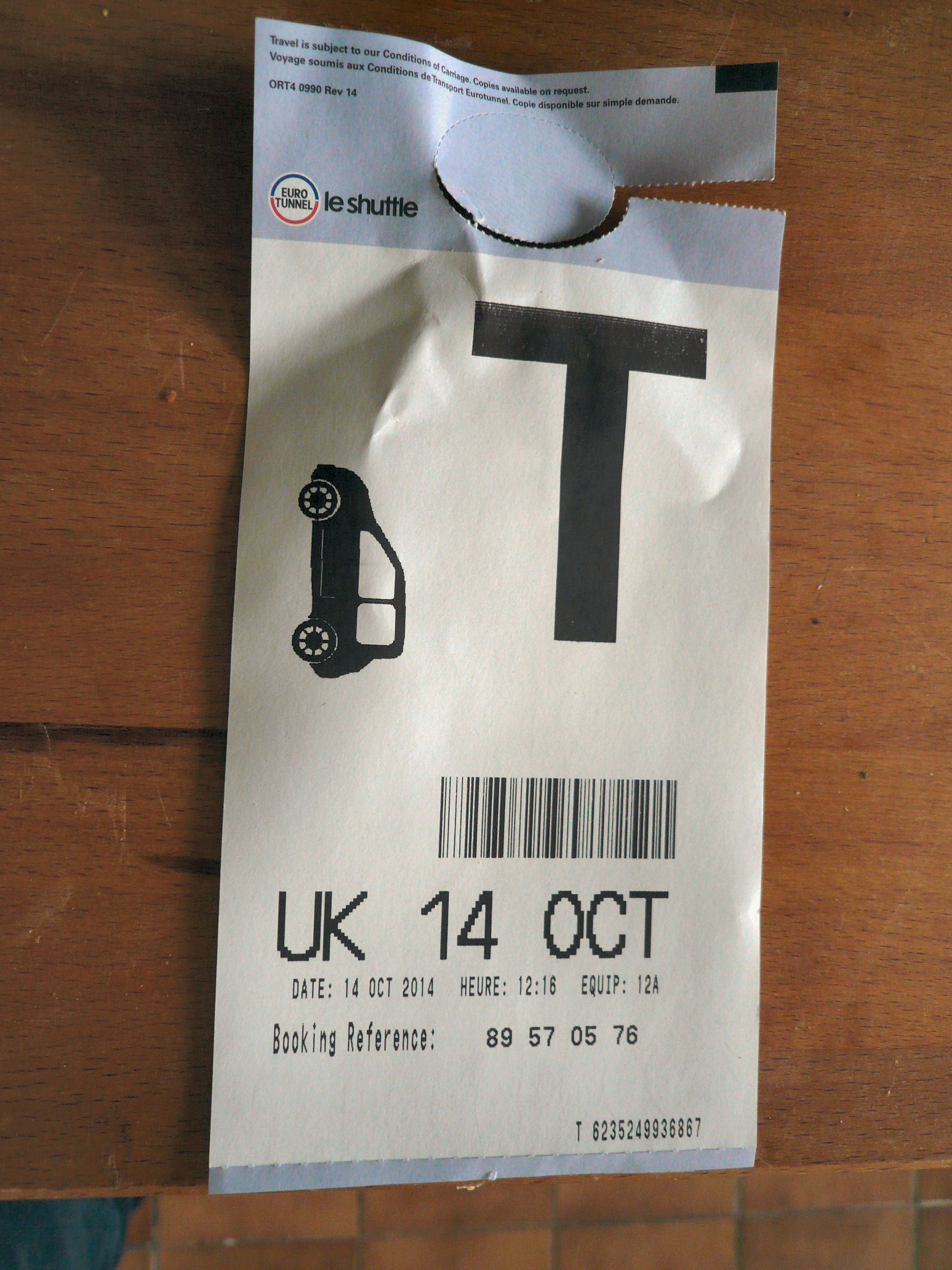 Eurotunnel ticket front