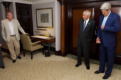 Associated Press reporter Matt Lee questions U.S. Secretary of State John Kerry and Foreign Minister Albert del Rosario of the Philippines before a bilateral meeting after the two leaders attended the inauguration ceremonies for Indonesian President Joko Widodo in Jakarta, Indonesia, on October 20, 2014. [State Department photo/ Public Domain]