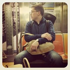 Monday afternoon 1 train. #nycsubwayportraits #nyc#train #subway #publictransportation #commute #1train