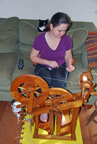 Plying hand-combed Romney on my Watson Martha Spinning wheel with Melvin