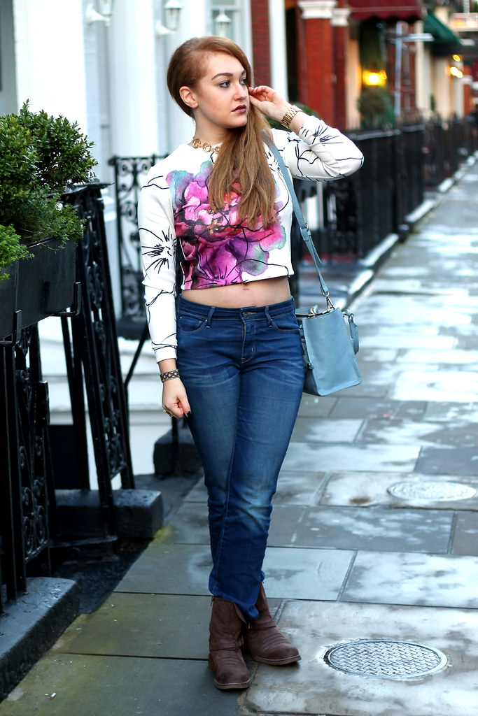 Asos petal crop jumper, bootcut jeans (1)