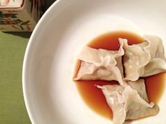 Boiled pork dumplings w/ shiitake, green onion, Na…