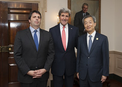 U.S. Secretary of State John Kerry, U.S. Ambassador to the Republic of Korea Mark Lippert, and Korean Ambassador to the U.S. Ahn Ho-Young pose for a photo at Ambassador Lippert's swearing-in ceremony at the U.S. Department of State in Washington, D.C., on October 24, 2014. [State Department photo/ Public Domain]
