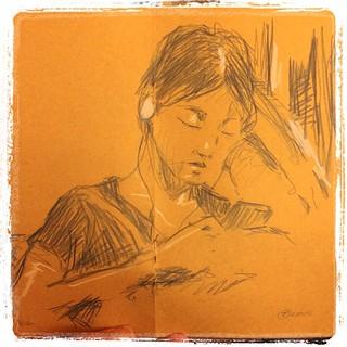 #japon #tokyo #kraft #colerase #metro #portraits #urbansketch