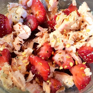 Salmon and strawberries