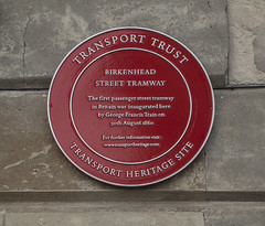Photo of Birkenhead Street Tramway and George Francis Train red plaque