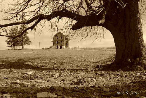 abandoned sepia farmhouse rural view hill iowa vista cunningham