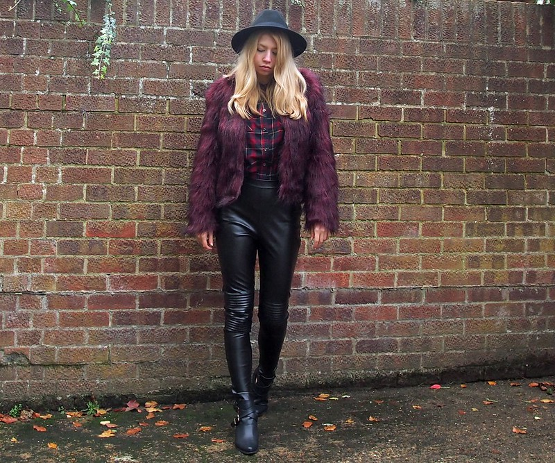 Fun Fur, Plaid, High-Waisted Leather Trousers, AW14, How to Wear, Outfit Ideas, Styling Inspiration, London Style Blogger, UK Fashion Blog, Sam Muses