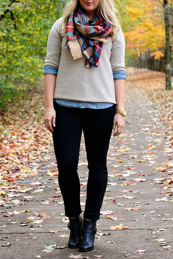 layered fall outfit with scarf